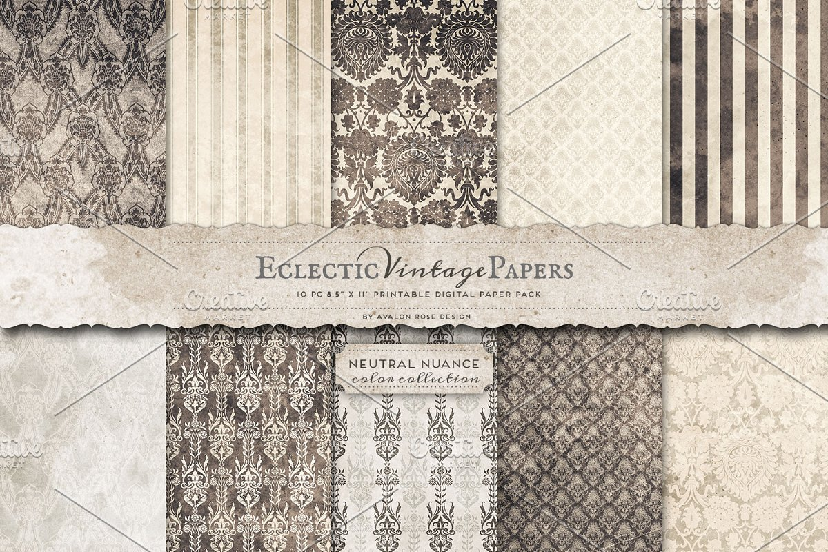 Printable Papers - Neutral Nuance ~ Graphic Patterns ~ Creative Market