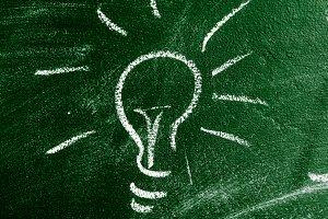 bulb on chalk board