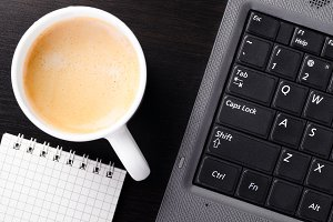 laptop with coffee