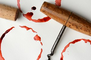 Wine Stains Cork and Corkscrew