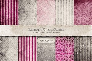 Printable Papers - Magenta Damask