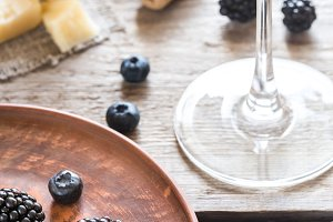 Glass of wine and berries