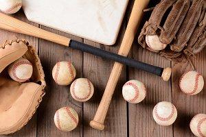 Baseball Gear on Rustic Wood Surface