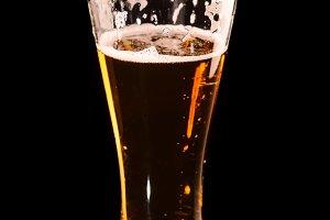 lager beer on black