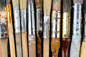 Closeup Used Paint Brushes