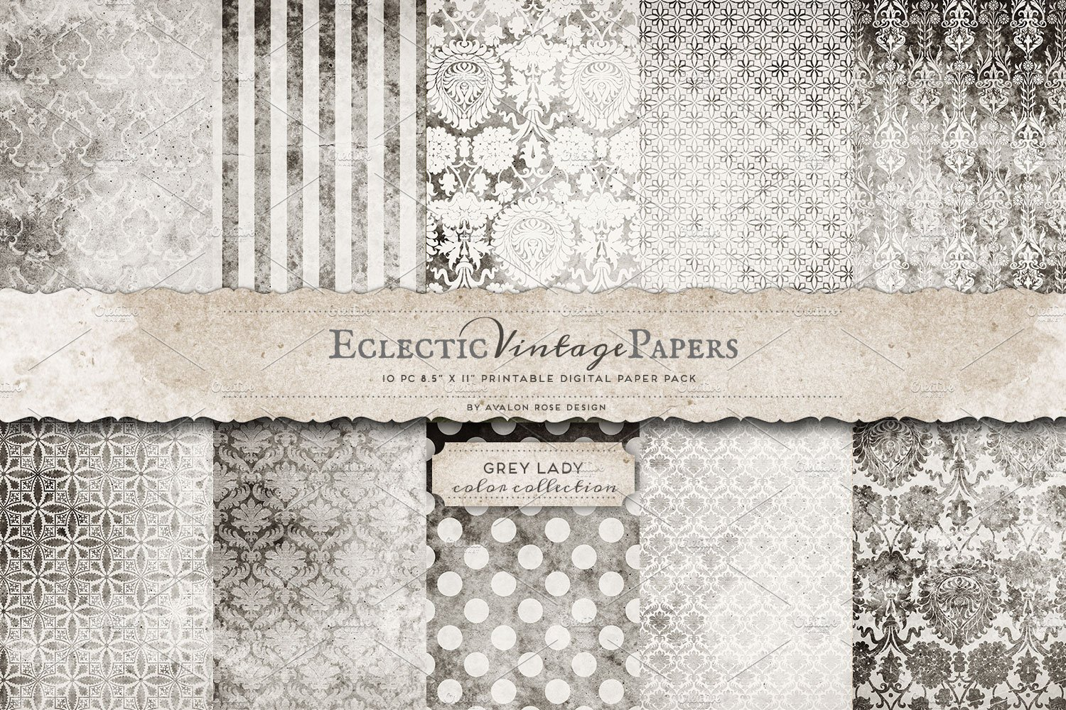 Printable Papers - Grey Lady ~ Graphic Patterns ~ Creative Market