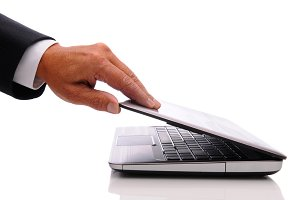 Businessman hand and laptop