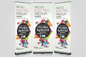Music Party Night Roll Up Banner
