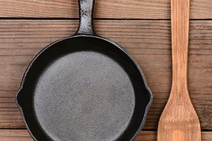 Frying Pan and Wood Fork
