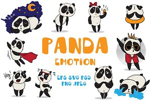 Panda - emotional vector set