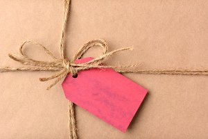 Christmas Present With Red Gift Tag