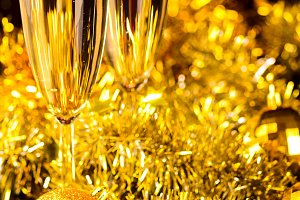 champagne with christmas toys