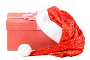 gift box under santa hat