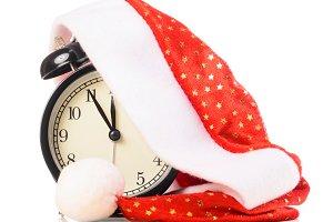 clock under santa hat