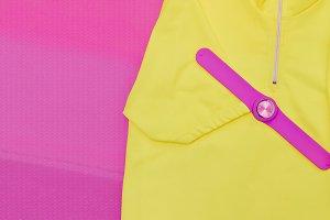 Trendy pink watch. Minimalism