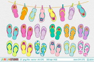 summer flip flop vector clip art