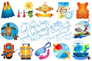 Diving big set clipart