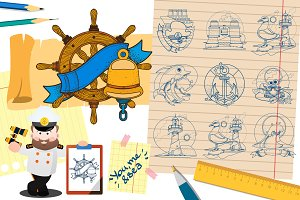 Cruise big set of clipart