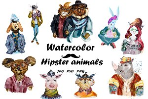 Watercolor Hipster Animals - Vol. 1