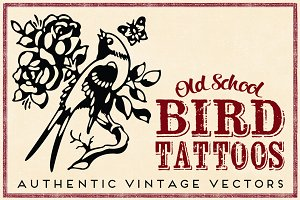 Tattoos 7 Retro Birds & Peacocks