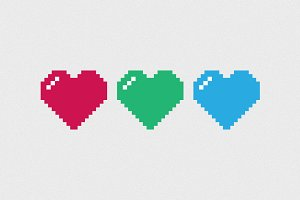 8-bit Heart Vector Graphic Icon