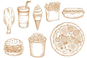 Fast food sketches set