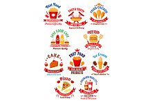 Fast food and snacks icons or signs