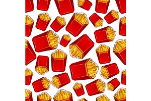 French fries seamless pattern