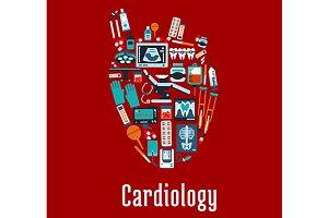 Cardiology health care symbol