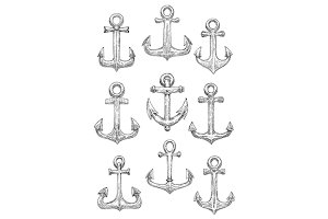Sketched ship anchors