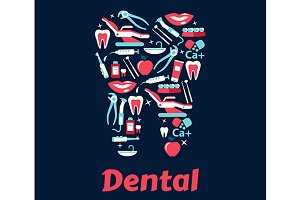 Dentistry flat icons