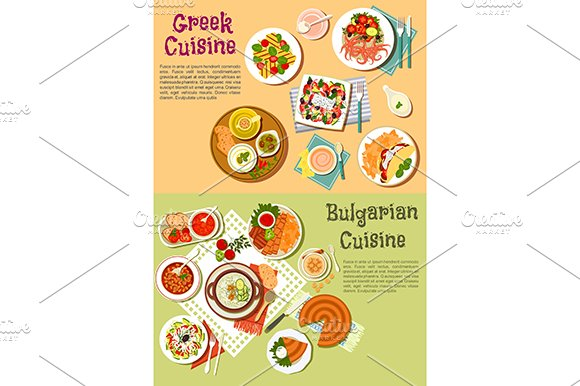 Greek and bulgarian cuisine dishes