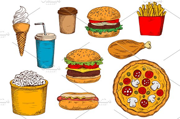 Fast food snacks and drinks sketches
