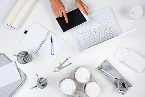 Woman Tablet Computer White Desk