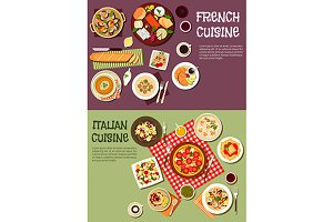 French and italian cuisine menu
