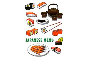 Japanese cuisine menu dishes