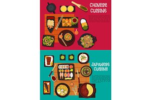 Chinese and japanese cuisine menu