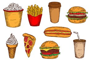 Takeaway food sketches