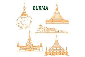 Burma landmarks icons