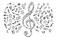 Treble clef and musical icons