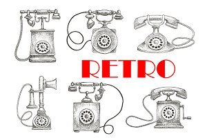 Old fashioned rotary dial telephones