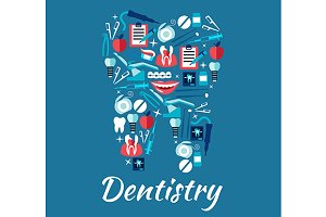 Dental care and dentistry icons