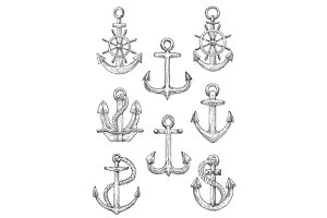 Retro nautical anchors with helms