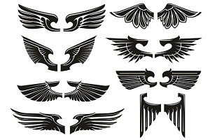 Angel wings design elements