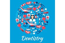 Dentistry symbol with hygiene icons