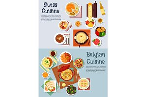 Swiss and belgian cuisine dishes