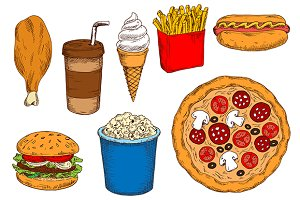 Fast food sketched snacks