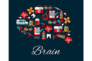 Human brain with medical icons