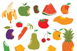 Fruit bite vector set