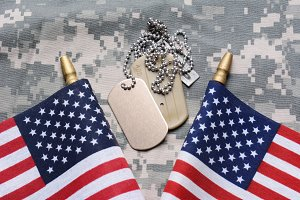 American Flags and Dog Tags